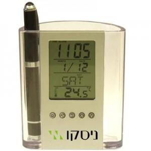 דסק - מעמד שולחני לעטים עם שעון ומד טמפרטורה