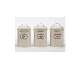 סונאטה- סט שלוש קופסאות אחסון מפח, מעוצבות בסגנון רטרו,