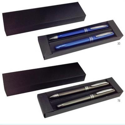 אשטון- סט ממתכת של עט רולר ועט כדורי