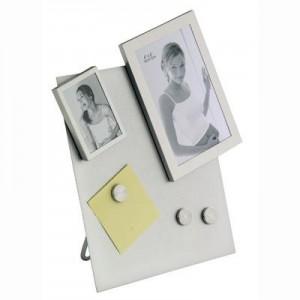 """לוח ממו מגנטים כסף שולחני עם שתי מסגרות לתמונה 21x25 ס""""מ"""