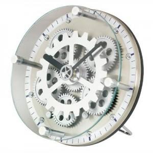 """שעון שולחני עגול גלגלי שיניים, 15 קוטר ס""""מ"""