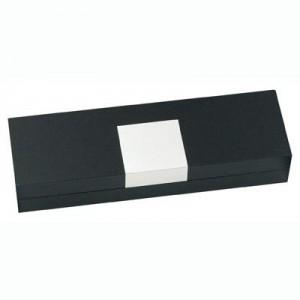 קופסא שחורה מהודרת לעטים עם לוחית אלומיניום חיצונית