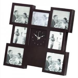 """שעון קיר/שולחני עץ מעוצב 7 תמונות 33x33 ס""""מ"""