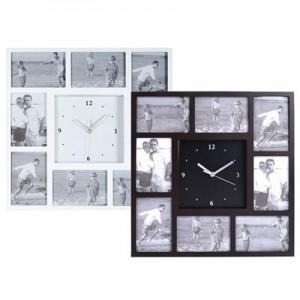 """שעון קיר עץ מעוצב 8 תמונות , 44x44 ס""""מ"""