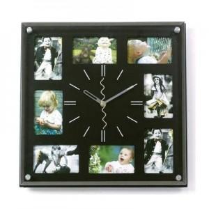 """שעון קיר בינוני עץ/זכוכית 8 תמונות, 32x32  ס""""מ"""