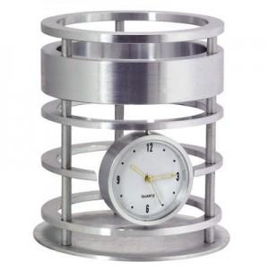 """קסטל - כוס לעטים עם שעון אלומיניום , גובה 11 ס""""מ"""