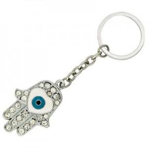 חמסה עין מחזיק מפתחות עם אבני שיבוץ זוהרות
