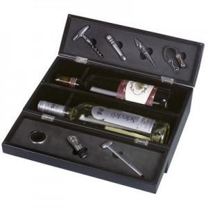 יקב מארז עץ לשני בקבוקי יין עם ערכת פותחנים
