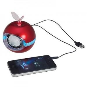 """רמקול תפוח גדול """"Apple Byte"""" אדום לנגנים וטלפונים סלולריים, סאונד חזק ואיכותי"""