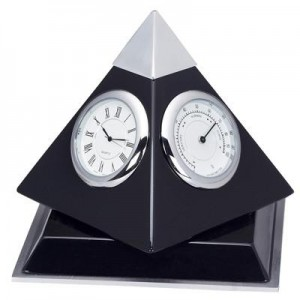 פירמידה מעמד מהגוני יוקרתי שעון ,טרמומטר, היגרומטר