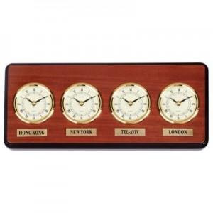 """שעון קיר עץ בינלאומי - 4 ארצות , 41X17 ס""""מ"""
