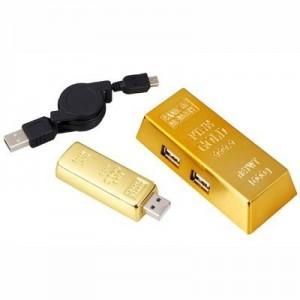 גולדן סט מתנה דיסק-און-קי מטיל זהב 8GB עם מפצל USB 2.0
