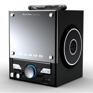 """רמקול """"מיוזיק בוקס"""" נטען בשילוב רדיו חזית לבנה עם תאורת לדים צבעונית כניסות דיסק-און-קי ו SD-CARD"""