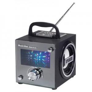 """רמקול """"מיוזיק קיוב"""" נטען בשילוב רדיו חזית לבנה עם תאורת לדים צבעונית כניסות דיסק-און-קי ו SD-CARD"""