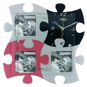 """שעון קיר פאזל עם מסגרות ל-3 תמונות     33x33 ס""""מ"""
