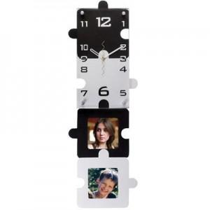 """שעון קיר פאזל מאורך ל-2 תמונות 16x60 ס""""מ"""