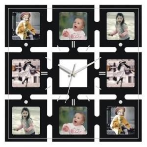 """שעון קיר גדול עץ/זכוכית 8 תמונות,  40x40 ס""""מ"""