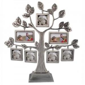 עץ משפחה מתכת עם 7 מסגרות לתמונה