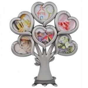 עץ משפחה מתכת עם 6 מסגרות לתמונה