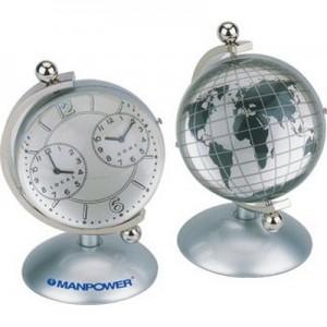יוניברס - 2 שעונים, עם מפת עולם בכדור אקריל