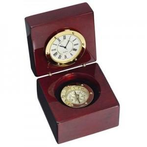 שעון מצפן במארז עץ מהודר