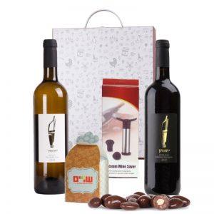 מארז זוג יינות ושוקולד