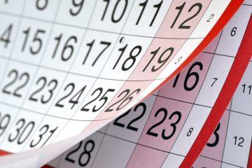 לוח חגים לשנת 2020